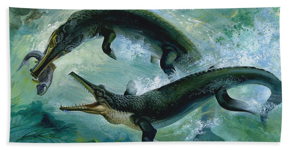 Creature; Predator; Attack; Underwater; Sea Creatures; Food Chain; Eating; Green; Water; Green; Bubbles Beach Towel featuring the painting Pre-historic Crocodiles Eating A Fish by Unknown