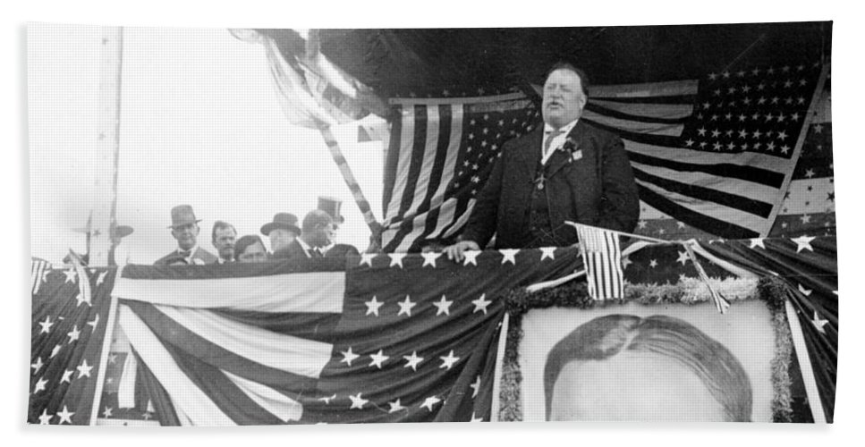 President Beach Towel featuring the photograph President Taft Giving A Speech In Augusta - Georgia C 1910 by International Images