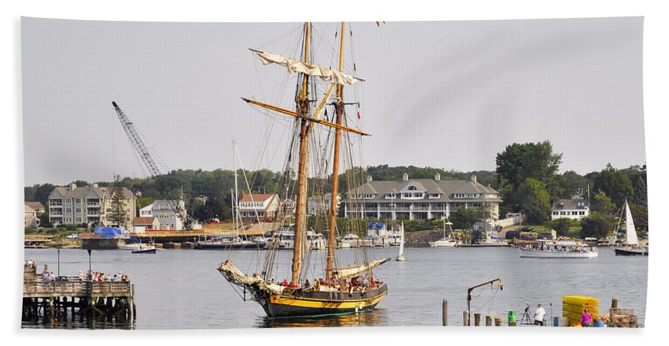 Tall Ship Beach Towel featuring the photograph Pride Of Baltimore II Pb2p by Jim Brage