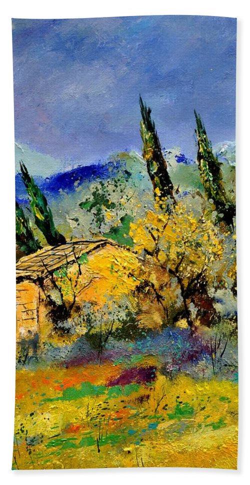 Landscape Beach Towel featuring the painting Provence 452190 by Pol Ledent