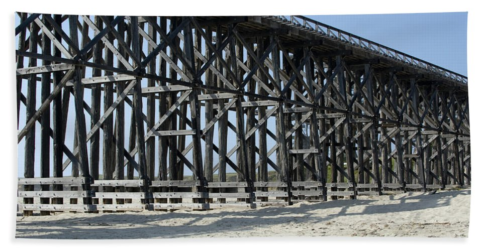 Structures Beach Towel featuring the photograph Pudding Creek Bridge by Sandra Bronstein