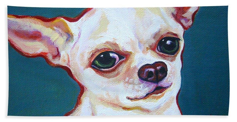 Rebecca Korpita Beach Towel featuring the painting White Chihuahua - Puddy by Rebecca Korpita
