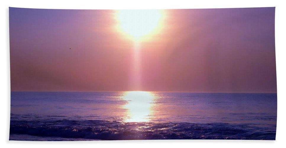 Sunrise Beach Towel featuring the photograph Purple Haze by Art Dingo