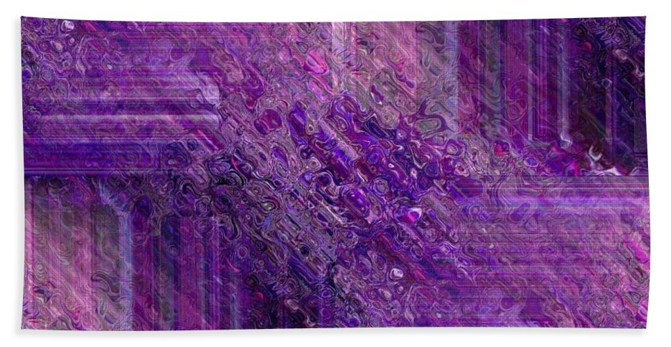 Abstract Beach Towel featuring the digital art Purple Mystique by Maria Urso