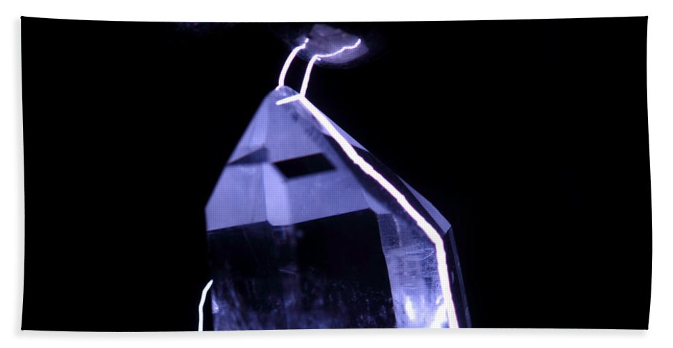 Electrical Beach Towel featuring the photograph Quartz Crystal & Sparks by Ted Kinsman