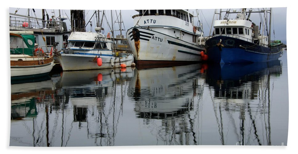 Fishing Boats Beach Towel featuring the photograph Quiet Time by Bob Christopher