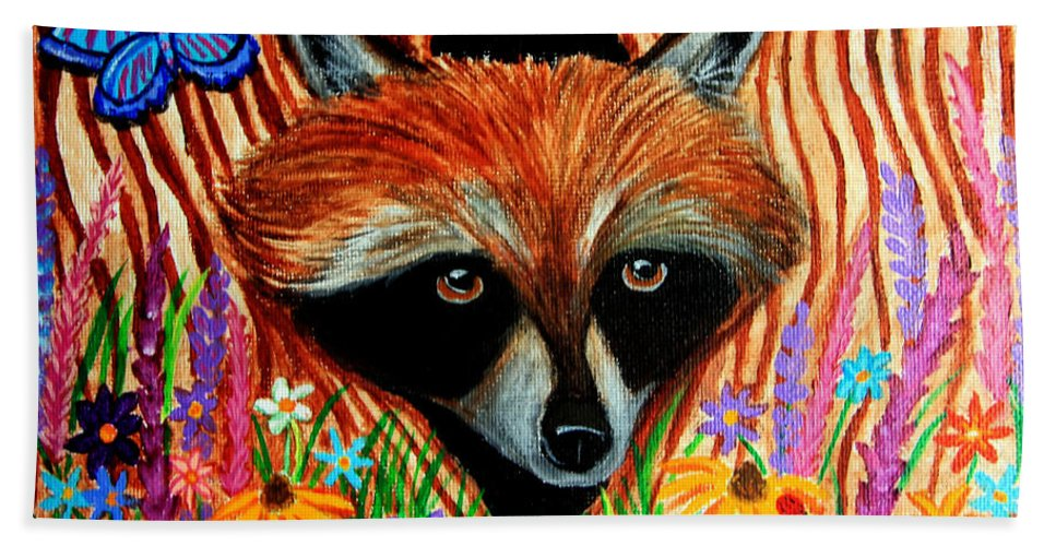 Raccoon Beach Towel featuring the painting Raccoon And Butterfly by Nick Gustafson