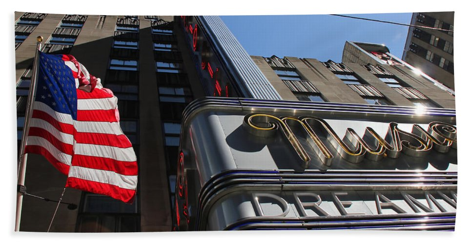 New York Beach Towel featuring the photograph Radio City Music Hall 2 by Andrew Fare