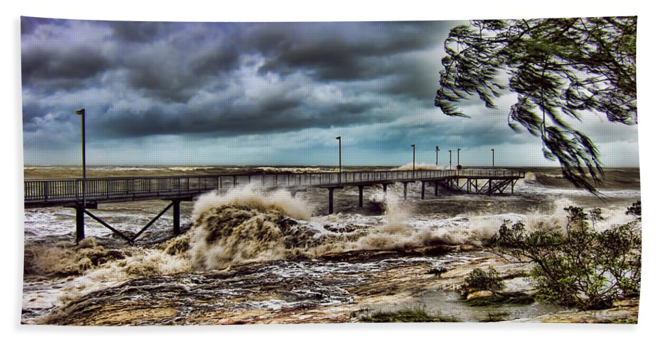 Monsoon Beach Towel featuring the photograph Raging Waters by Douglas Barnard
