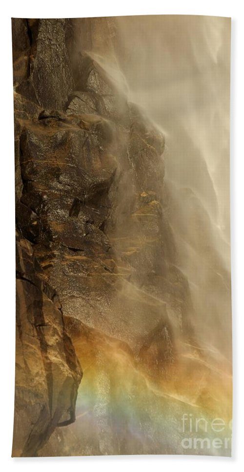 Yosemite National Park Beach Towel featuring the photograph Rainbow On The Rocks by Adam Jewell