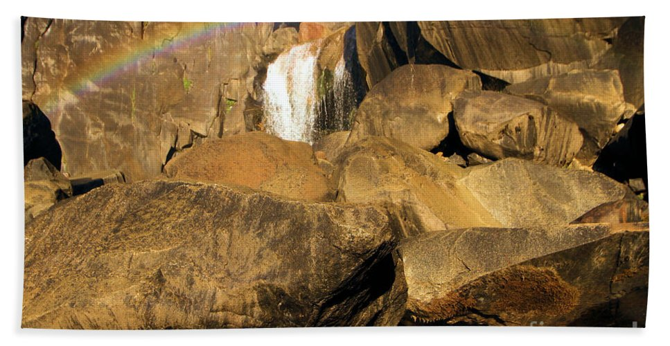 Yosemite National Park Beach Towel featuring the photograph Rainbow At Bridal Veil by Adam Jewell