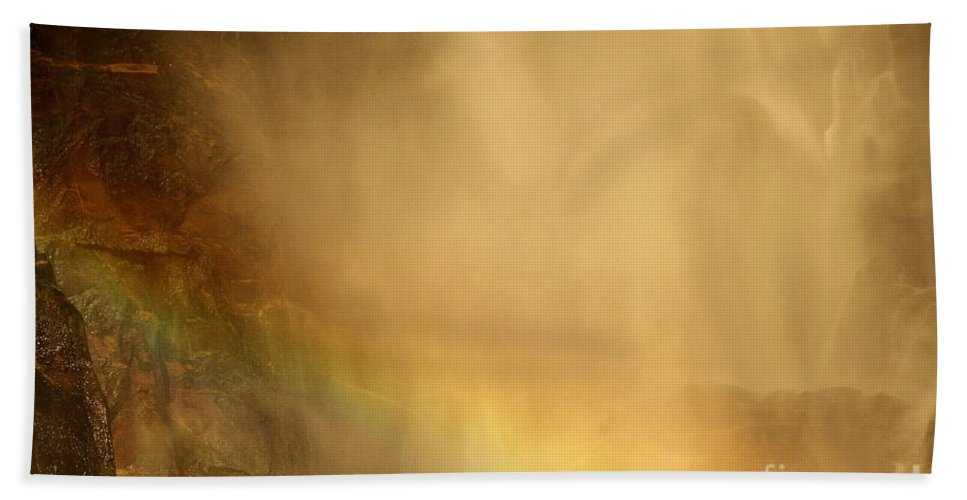 Yosemite National Park Beach Towel featuring the photograph Rainbow In The Mist by Adam Jewell