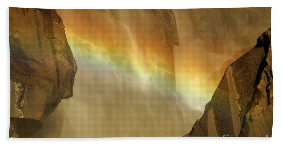 Yosemite National Park Beach Towel featuring the photograph Rainbow Vision by Adam Jewell
