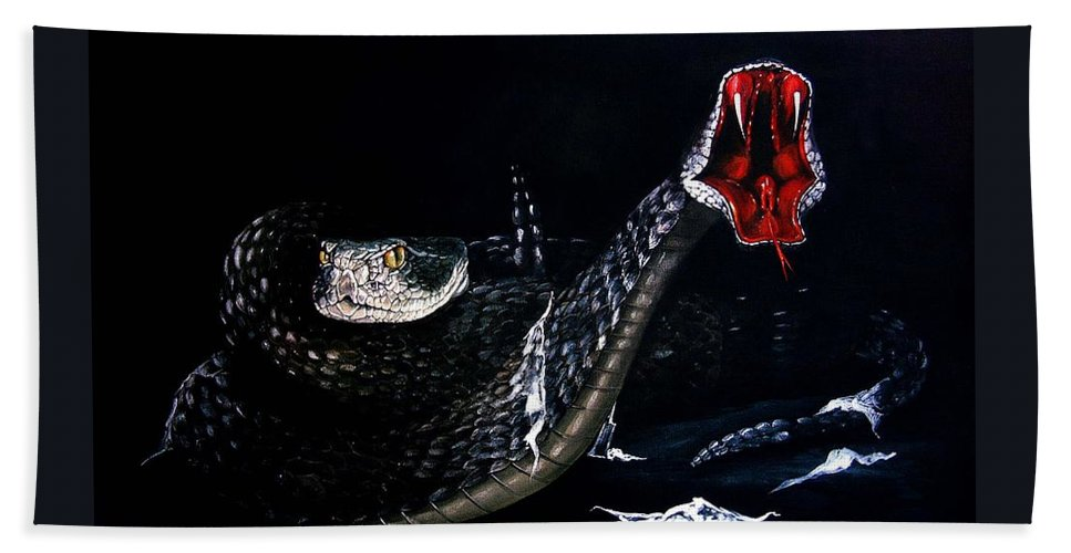 Fantasy Beach Towel featuring the painting Rattlesnakes by Penny Golledge