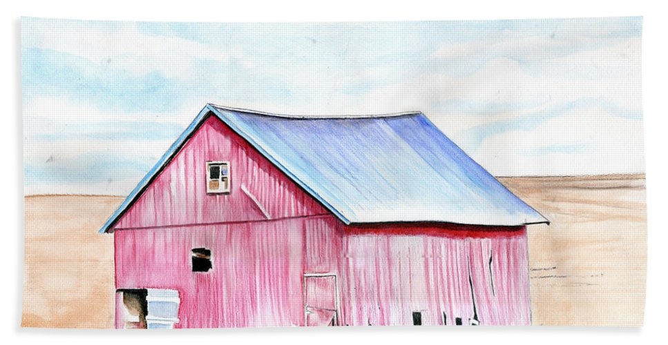 Watercolor Beach Towel featuring the painting Red Barn by Bill Richards