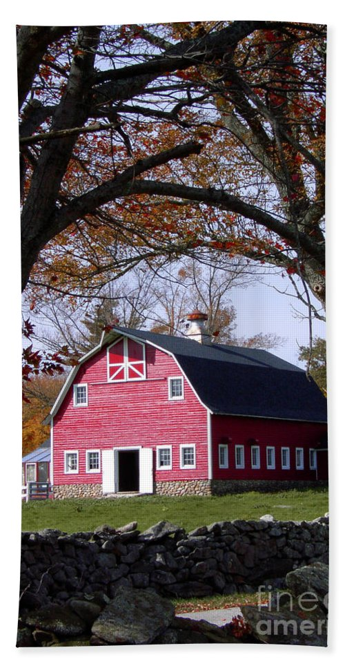 Red Beach Towel featuring the photograph Red Barn In Autumn by Mike Nellums