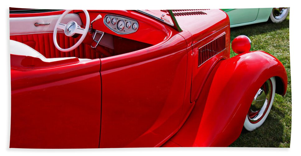 Red Classic Car Beach Towel featuring the photograph Red Beautiful Car by Garry Gay