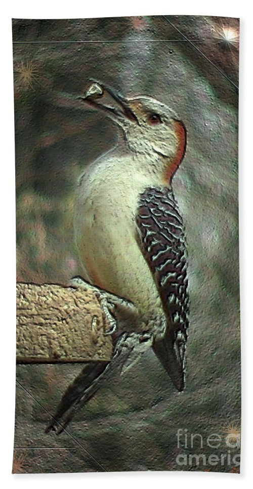 Bird Beach Towel featuring the photograph Red Bellied Woodpecker by Donna Brown