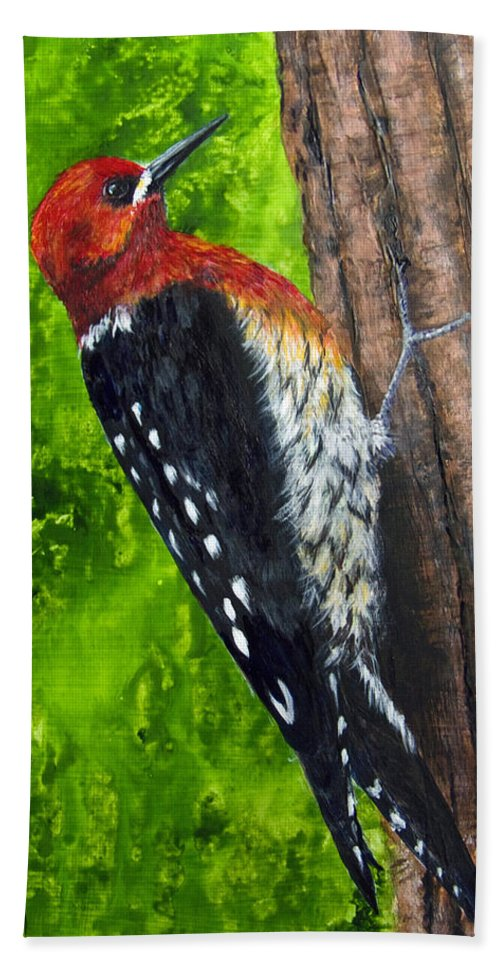 Red Breasted Sapsucker Beach Towel featuring the painting Red Breasted Sapsucker by Dee Carpenter