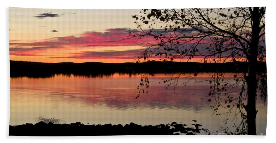 Heiko Beach Towel featuring the photograph Red Evening Sky by Heiko Koehrer-Wagner