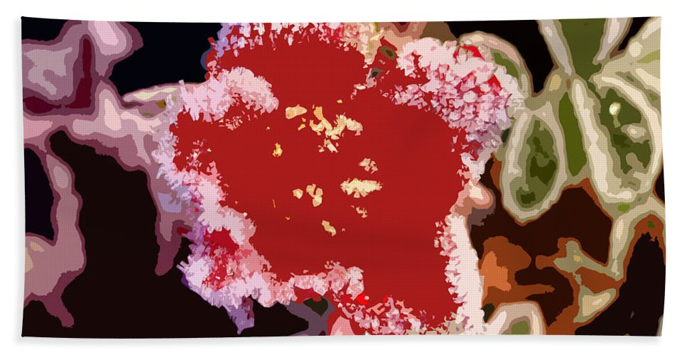 Red Flower Beach Towel featuring the photograph Red Flower With Frost by James Hill