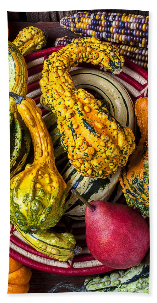 Red Pear Beach Towel featuring the photograph Red Pear And Gourds by Garry Gay