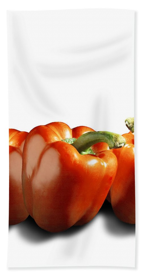Art Beach Towel featuring the photograph Red Peppers On White by Randall Nyhof
