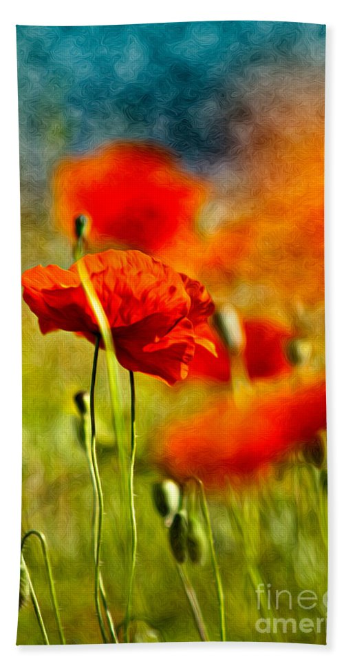 Poppy Beach Towel featuring the painting Red Poppy Flowers 01 by Nailia Schwarz