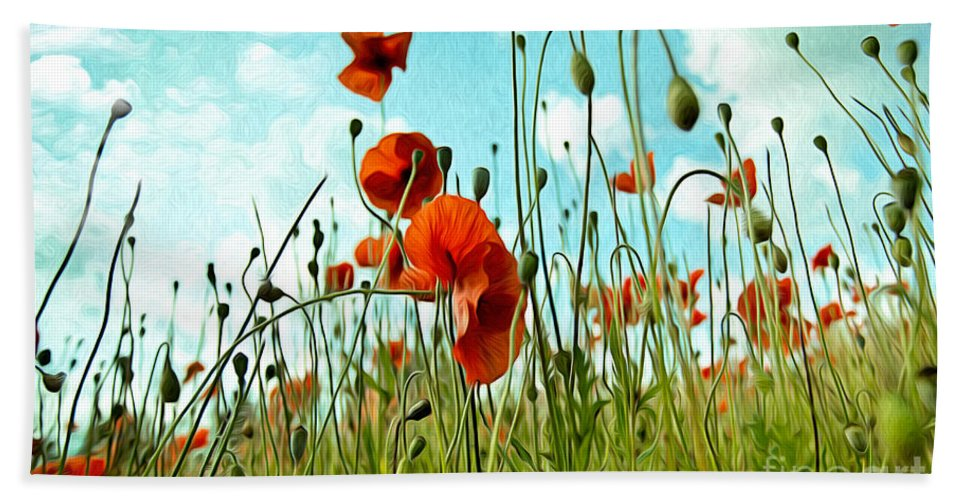 Poppy Beach Towel featuring the painting Red Poppy Flowers 03 by Nailia Schwarz