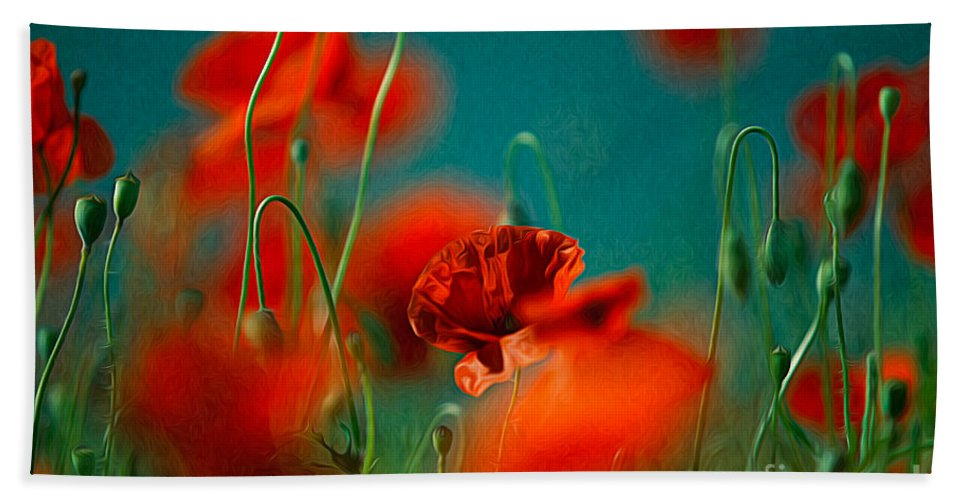 Poppy Beach Towel featuring the painting Red Poppy Flowers 05 by Nailia Schwarz