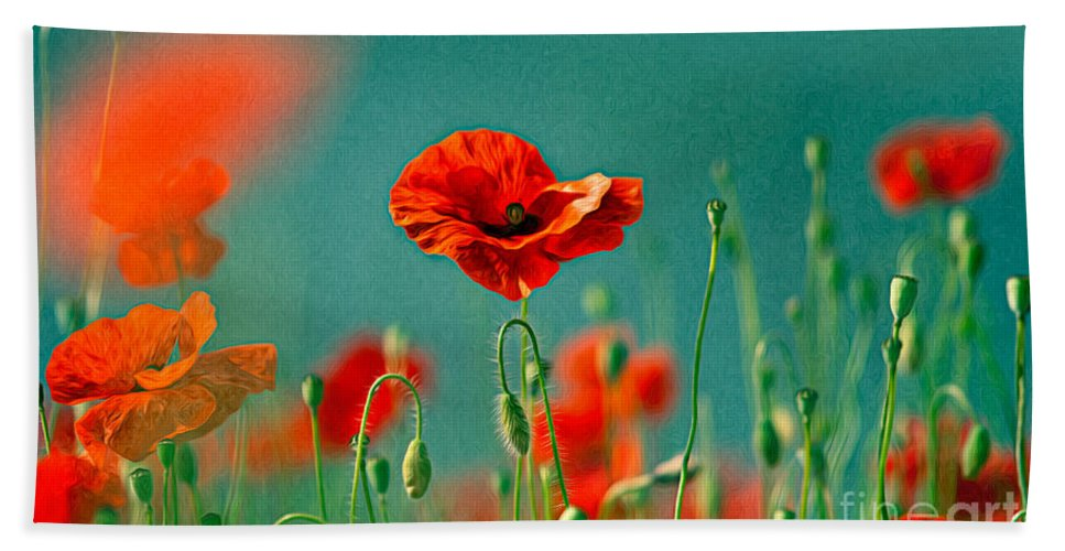 Poppy Beach Towel featuring the painting Red Poppy Flowers 06 by Nailia Schwarz