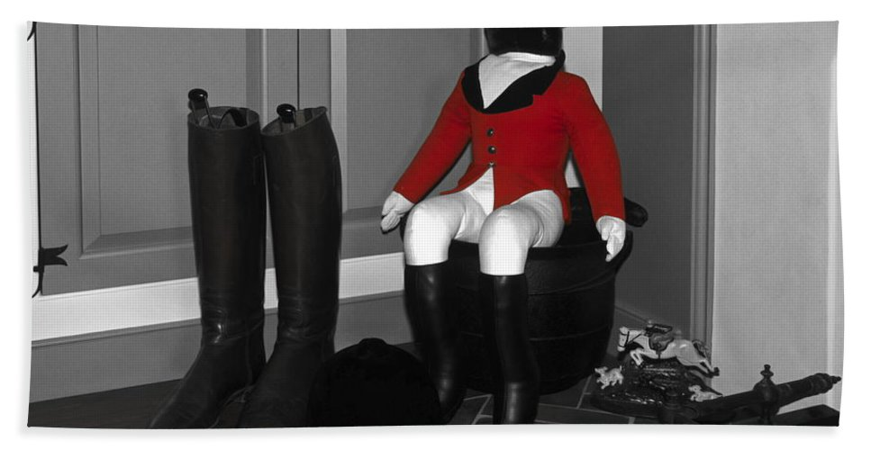 Riding Boots Beach Towel featuring the photograph Red Riding Jacket by Sally Weigand