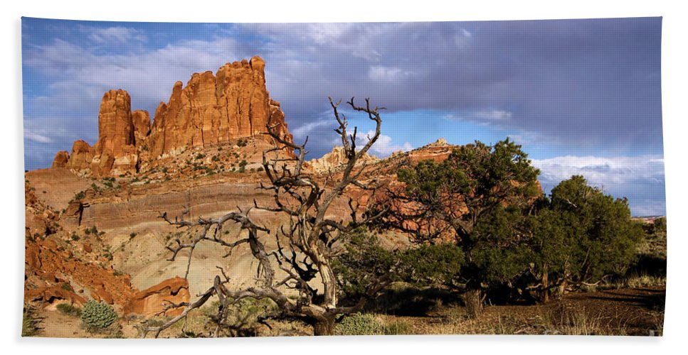 Red Rock Castle Beach Towel featuring the photograph Red Rock Castle by Adam Jewell