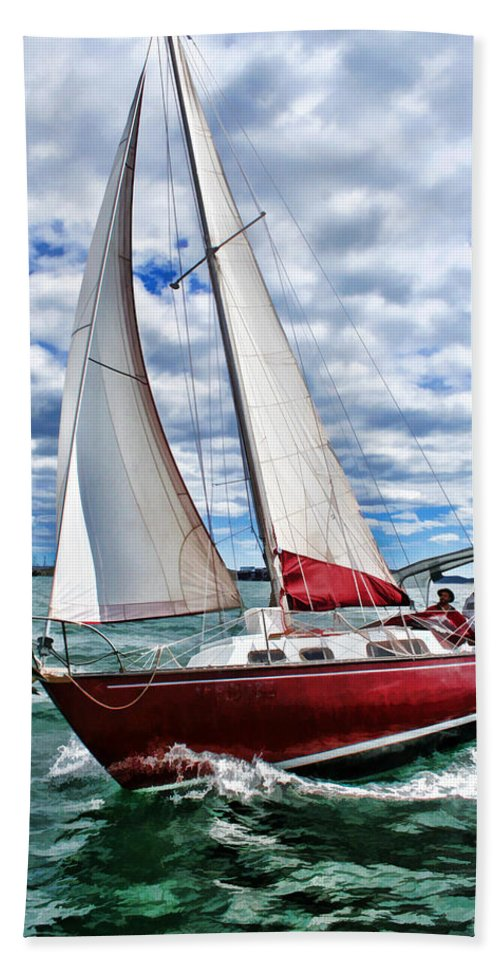 Scenery Beach Towel featuring the painting Red Sailboat Green Sea Blue Sky by Elaine Plesser