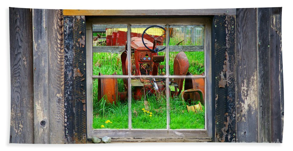 Window Beach Towel featuring the photograph Red Tractor Thru Old Window by Randy Harris