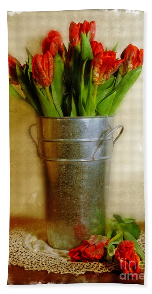 Red Tulips Beach Towel featuring the photograph Red Tulips by Jill Battaglia