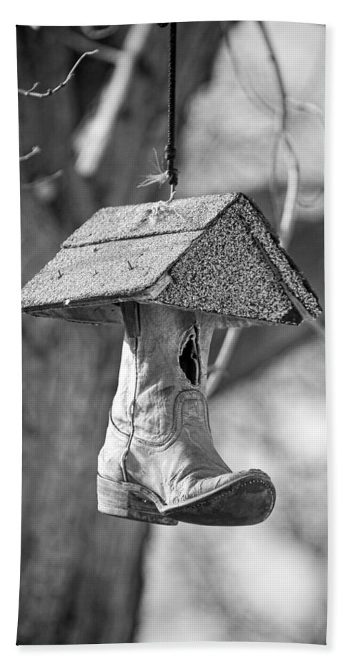 One Beach Towel featuring the photograph Redneck Cowboy Boot Birdhouse Bw by James BO Insogna
