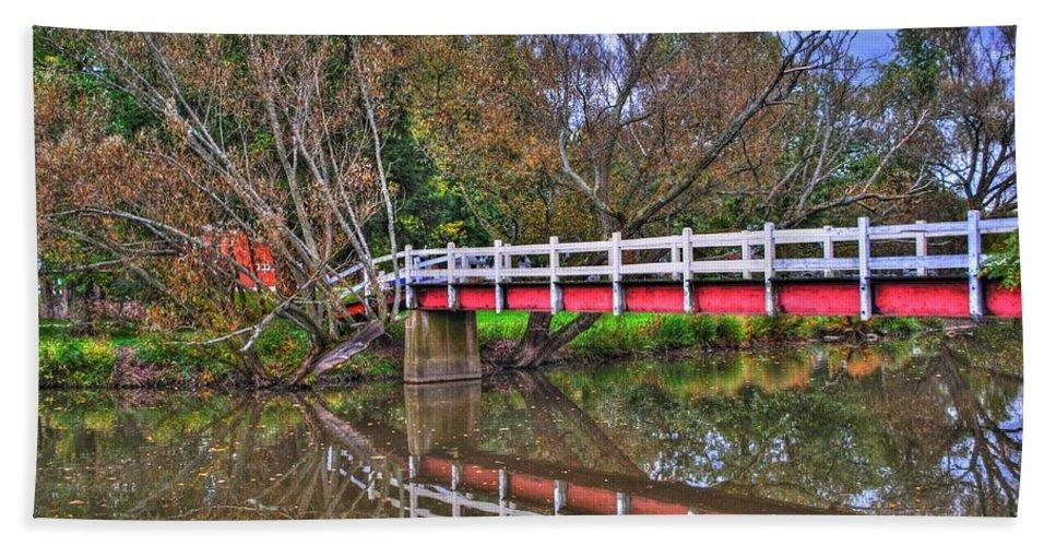 Beach Towel featuring the photograph Reflecting Bridge by Michael Frank Jr