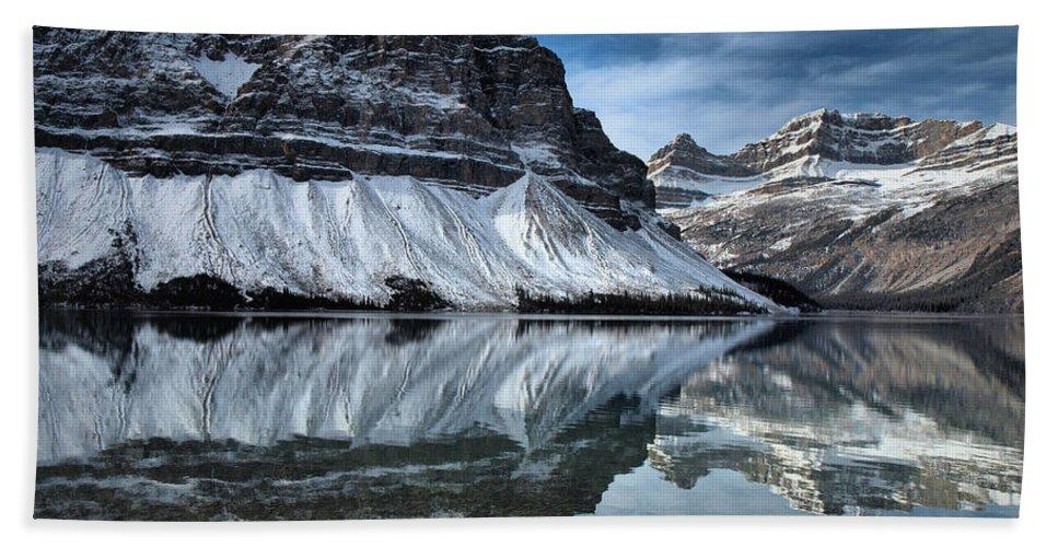 Lake Beach Towel featuring the photograph Reflections At Bow Lake by Tara Turner