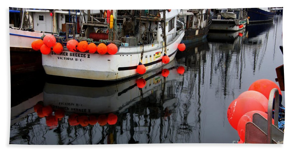 Fishing Boats Beach Towel featuring the photograph Reflections At French Creek by Bob Christopher