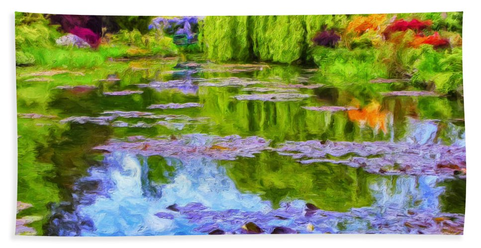 Monet Beach Towel featuring the painting Reflections At Giverny by Dominic Piperata