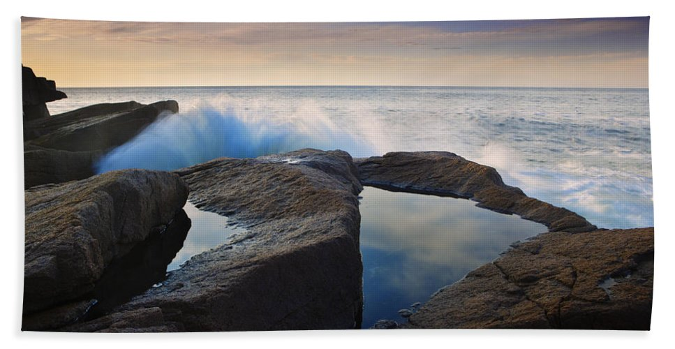 Acadia Photographs Beach Towel featuring the photograph Reflections In Monument Cove by Rick Berk