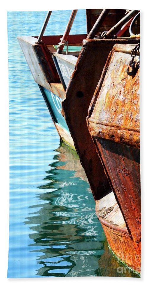 Boats Beach Towel featuring the photograph Reflections Of A Rust Bucket by Carol Groenen