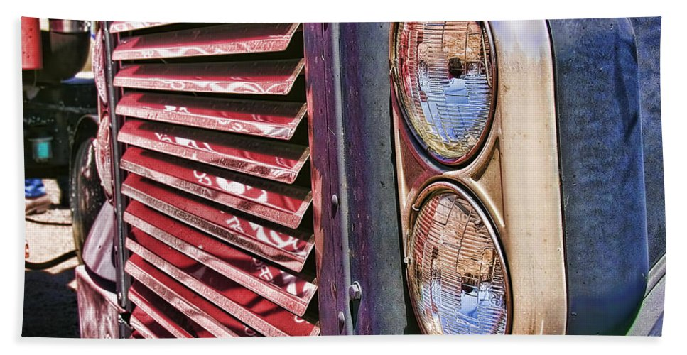Grill. Big Truck Beach Towel featuring the photograph Reflective Grill by Adam Vance