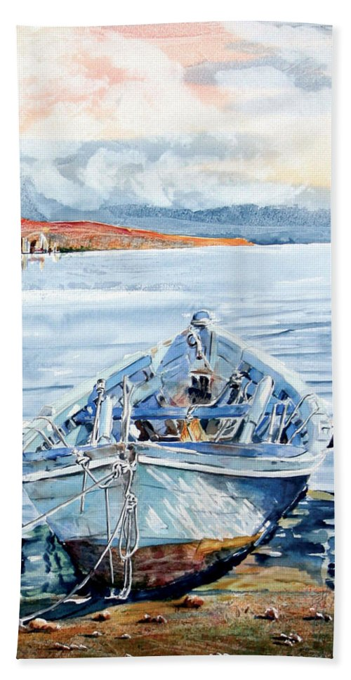 Boat Beach Towel featuring the painting Remi In Barca by Giovanni Marco Sassu