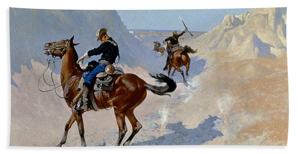19th Century Beach Towel featuring the photograph Remington: Guard, 1890 by Granger