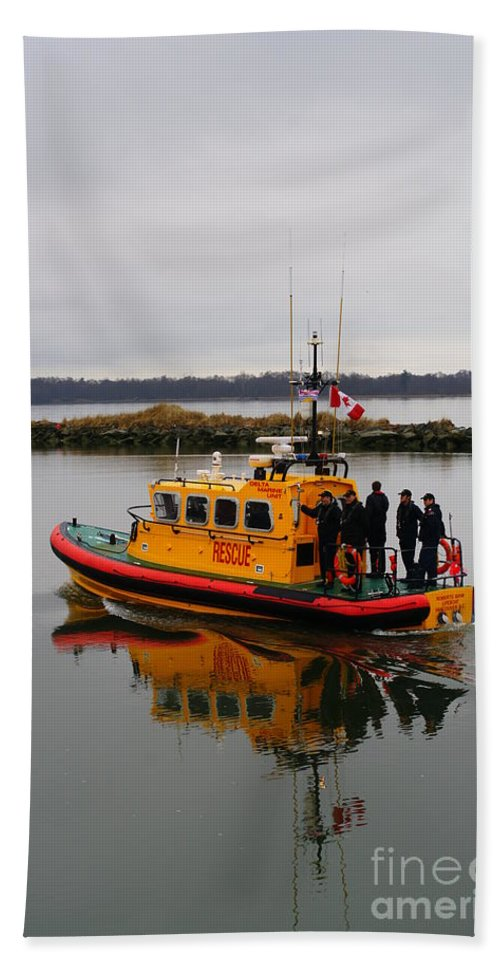 Rescue Boat Beach Towel featuring the photograph Rescue Boat by Randy Harris