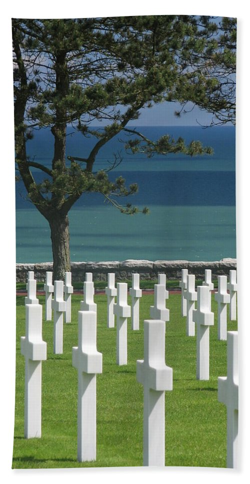 May Beach Towel featuring the photograph Respect - American Cemetery - Normandy 2 by Mary Ellen Mueller Legault