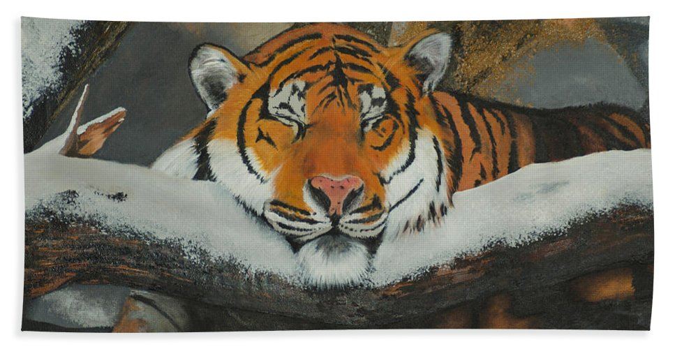 Tiger Beach Towel featuring the painting Resting Tiger by Tom Luca