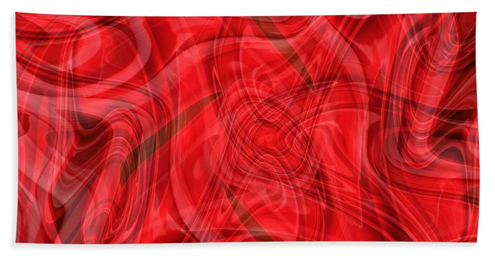 Red Abstract Beach Towel featuring the digital art Ribbons Of Red Abstract by Carol Groenen